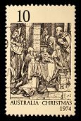 AUSTRALIA - CIRCA 1974: A Stamp printed in Australia shows the Adoration of the Kings by Durer, circ