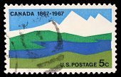 USA - CIRCA 1967: A stamp printed in United States of America shows Canada, 1867-1967, circa 1967