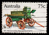 AUSTRALIA - CIRCA 1983: A Stamp printed in Australia shows the Merryweather Manual Engine (1851), Historic Fire Engines series, circa 1983