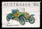 AUSTRALIA - CIRCA 1984: A stamp printed in Australia shows the Tarrant Car (1906), Australian-made v