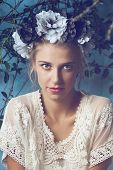 picture of bohemian  - Beautiful blond woman with braid hairstyle and natural makeup - JPG