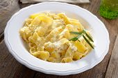 Fettuccine Alfredo with white sauce and Parmesan