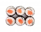 Sushi maki with salmon. Isolated on white background