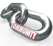 Community word on chain links to illustrate diverse societies linked together