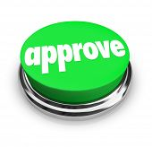 Approve word button tacceptance positive response, decision, verdict rating