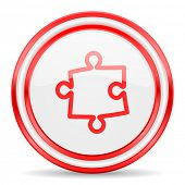 puzzle red white glossy web icon