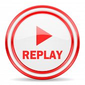 replay red white glossy web icon