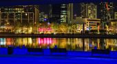 Downtown of Melbourne at night Yarra river
