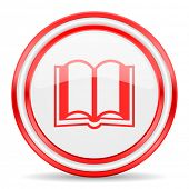 book red white glossy web icon