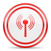 wifi red white glossy web icon