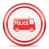 police red white glossy web icon