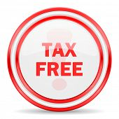 tax free red white glossy web icon