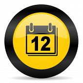 calendar black yellow web icon