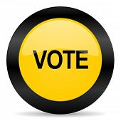vote black yellow web icon