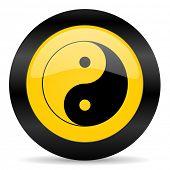 ying yang yellow web icon