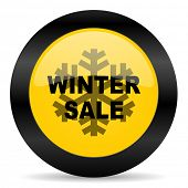 winter sale black yellow web icon