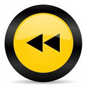rewind black yellow web icon