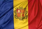 Closeup of silky Andorra flag