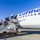 People Board The Lufthansa Aircraft