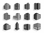 Set of dimensional buildings icons
