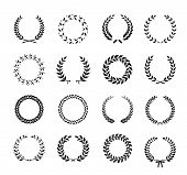 stock photo of laurel  - Set of black and white silhouette circular laurel  foliate and wheat wreaths depicting an award  achievement  heraldry  nobility and the classics  vector illustration - JPG