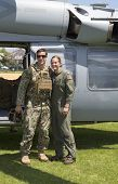 Unidentified US Navy from EOD team and unidentified helicopter pilot during Fleet Week 2014