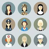 Colorful Women In Uniform. Circle Icons Set. Modern Flat Style