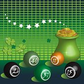 stock photo of pot gold  - Abstract colorful illustration with colorful lottery balls - JPG