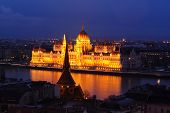 Hungarian Parliament Building At Dusk