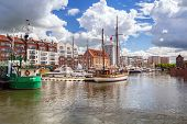 GDANSK, POLAND - 10 MAY: Harbor at Motlawa river in old town of Gdansk on 10 May 2014. Gdansk is a P