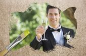 Composite image of groom toasting with champagne with paintbrush dipped in yellow against weathered