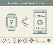 Fitness tracker & smartwatch icons. Smartwatch or fitness tracker connect to smart phone