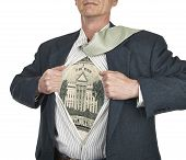 Businessman Showing Twenty Dollar Bill Superhero Suit Underneath His Shirt