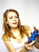 Attractive Brown-haired Woman Plays Video Game