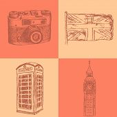 Sketch Photo Camera, Phone Cabin, Uk Flag And Big Ben, Vector  Background