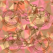 Sketch Bicycle On Triangles Background