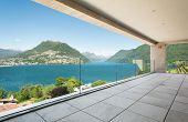 beautiful terrace in a modern penthouse, lake view