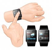 Vector illustration of smart watch gesture. Gesture flick.