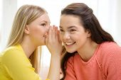 friendship, gossip and happiness concept - one girl telling another secret