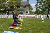Delaplane, Virginia, USA-May 24, 2014: People playing corn hole at the Delaplane Strawberry Festival