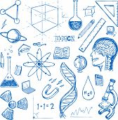 Sciences doodles icons vector set