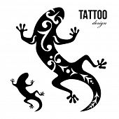 Black and white gecko tattoo