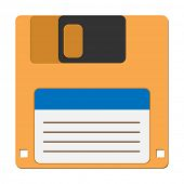 Illustration floppy disc icon for computer data storage.