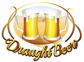 Illustration of a draught beer label with two mugs of beer on a white background
