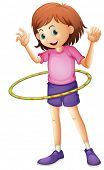 Illustration of a young girl playing hulahoop on a white background