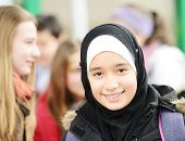 foto of muslim kids  - Teenage Muslim Arabic girl in school - JPG