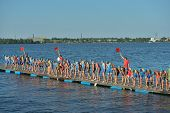 DNEPROPETROVSK, UKRAINE - MAY 24, 2014: Start of ETU Sprint Triathlon European cup in the group Elit