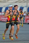 DNEPROPETROVSK, UKRAINE - MAY 24, 2014: Viktor Aloshin and Maksim Kryat run on the third stage of ET