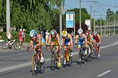 DNEPROPETROVSK, UKRAINE - MAY 24, 2014: Female athletes race on the second stage of ETU Sprint Triat