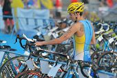 DNEPROPETROVSK, UKRAINE - MAY 24, 2014: Yaroslav Ozyumenko of Ukraine in the transition area during